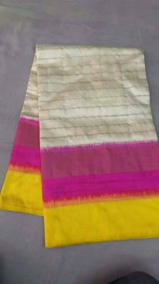 pochampally off white with pink yellow border-3