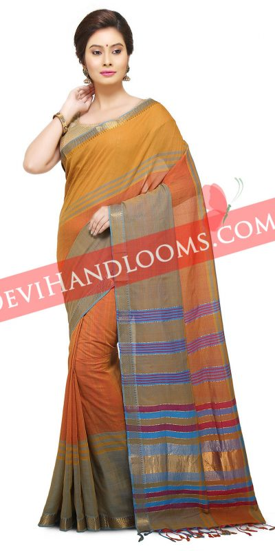 Multi Color Mangalagiri Handwoven Cotton saree-1