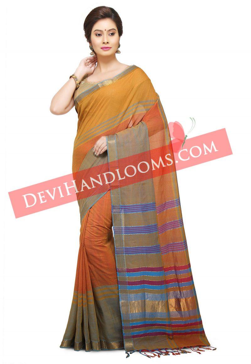 Multi Color Mangalagiri Handwoven Cotton saree-1
