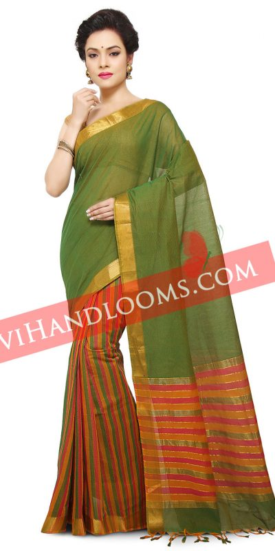 Handwoven Mangalagiri Green and multi color half and half cotton saree with blouse-1