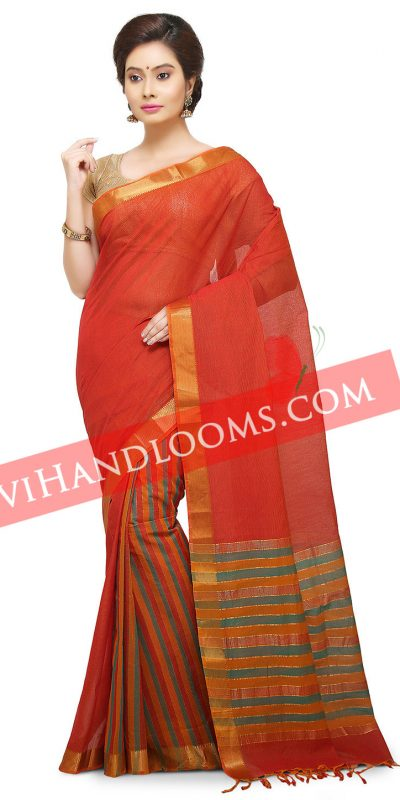 Handwoven Mangalagiri Rust and multi color half and half cotton saree with blouse-1