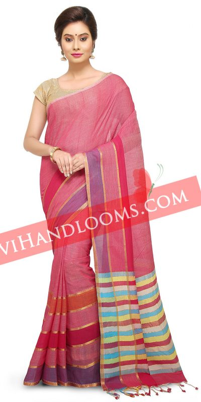 Handwoven Mangalagiri Pink cotton saree with blouse -1