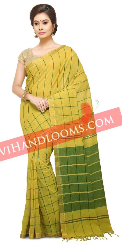 Handwoven Mangalagiri lime Green Big checks cotton saree with blouse-1