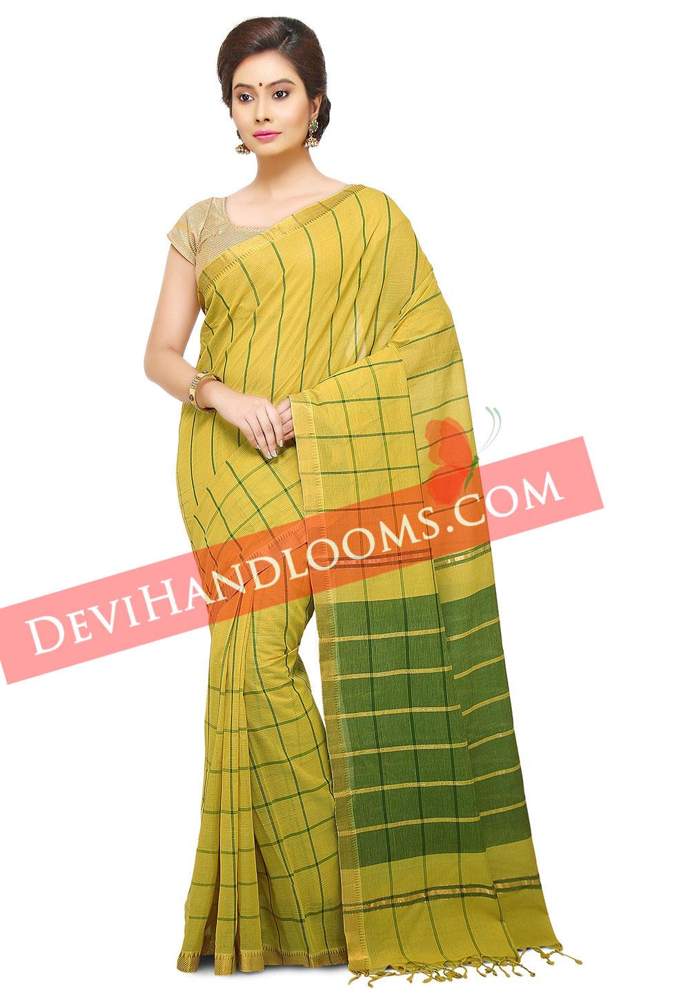 Handwoven Mangalagiri lime Green Big checks cotton saree with blouse-1