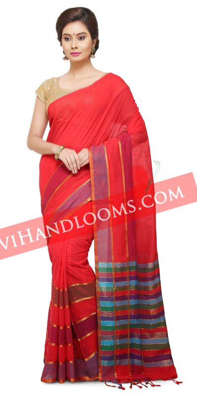 Handwoven Mangalagiri Fuchsia cotton saree with blouse-1