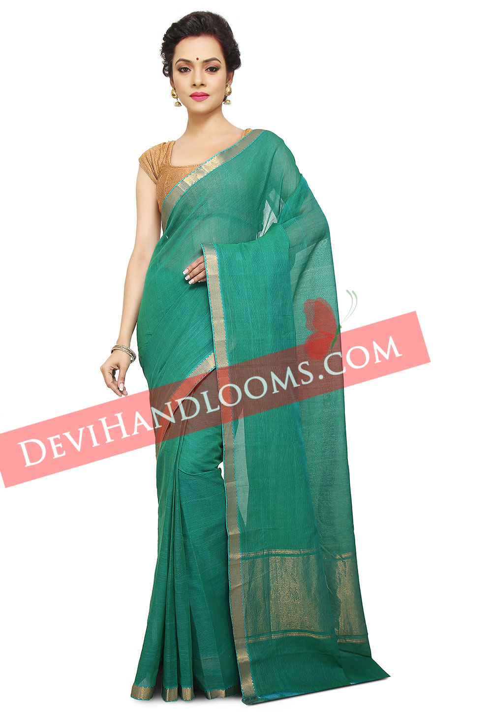 Handwoven Mangalagiri Teal Green Plain cotton saree with blouse