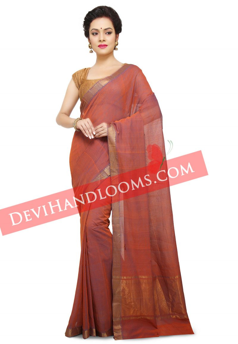 Handwoven Mangalagiri Rust Color cotton saree with blouse