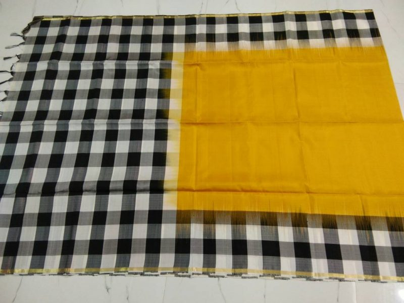 uppada border checks silk saree-5