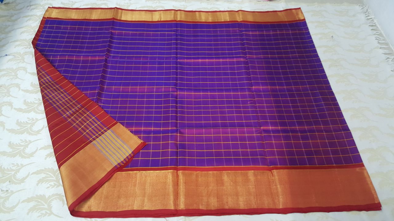uppada small checks pure silk sarees (5)